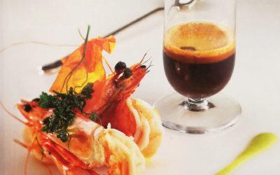 Mazzancolle su crema di zucchine con caffè solido